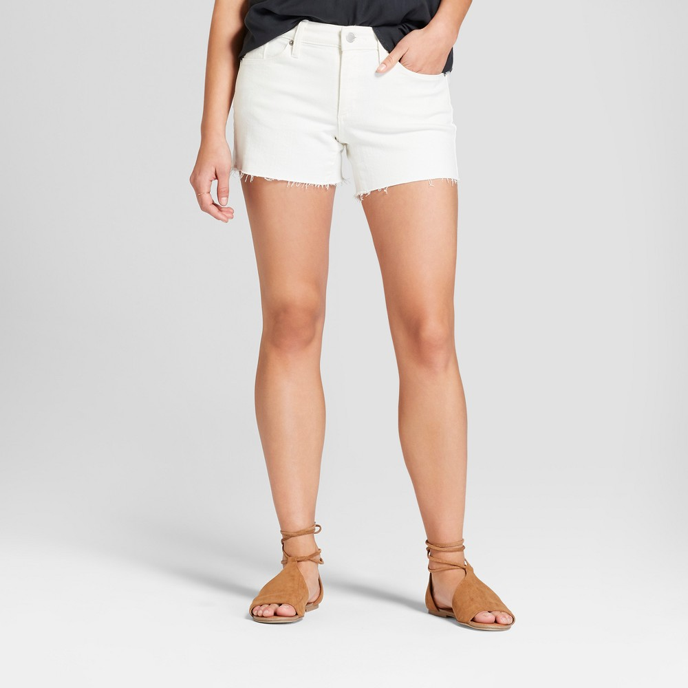 Women's Mid-Rise Raw Hem Midi Jean Shorts - Universal Thread White 6