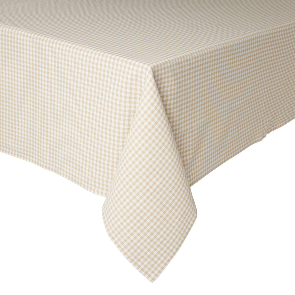 "Image of ""102"""" x 60"""" Cotton Gingham Woven Tablecloth Beige - Town & Country Living"""