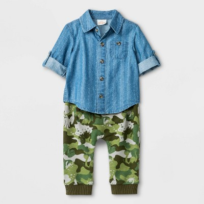 Baby Boys' 2pc Chambray Top and Camo Pants Bottom Set - Cat & Jack™ Blue/Green 6-9M