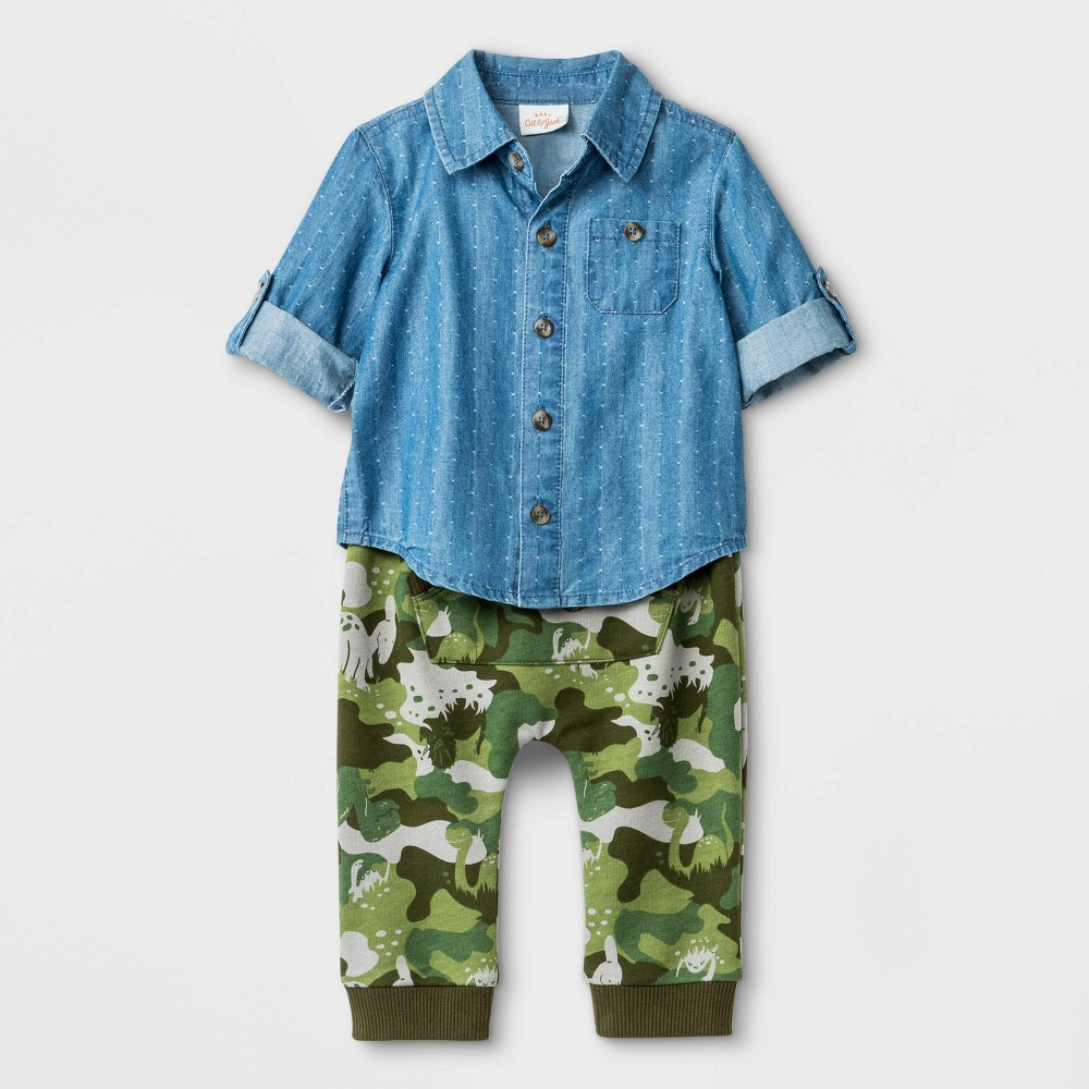 Baby Boys' 2pc Chambray Top and Camo Pants Bottom Set - Cat & Jack Blue/Green Newborn thumbnail