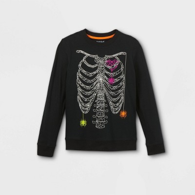 Boys' Skeleton Ribcage Graphic Long Sleeve T-Shirt - Cat & Jack™ Black