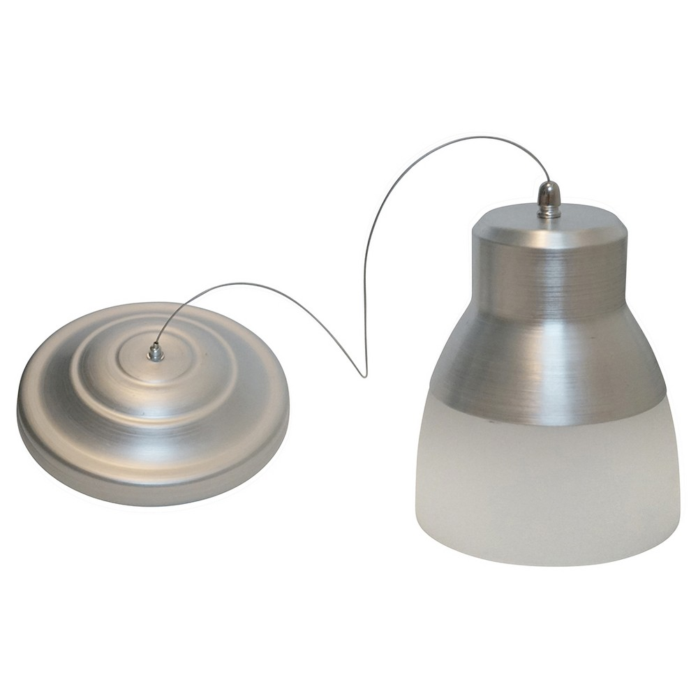 Image of Battery-Operated Nickel Glass Pendant Light with remote
