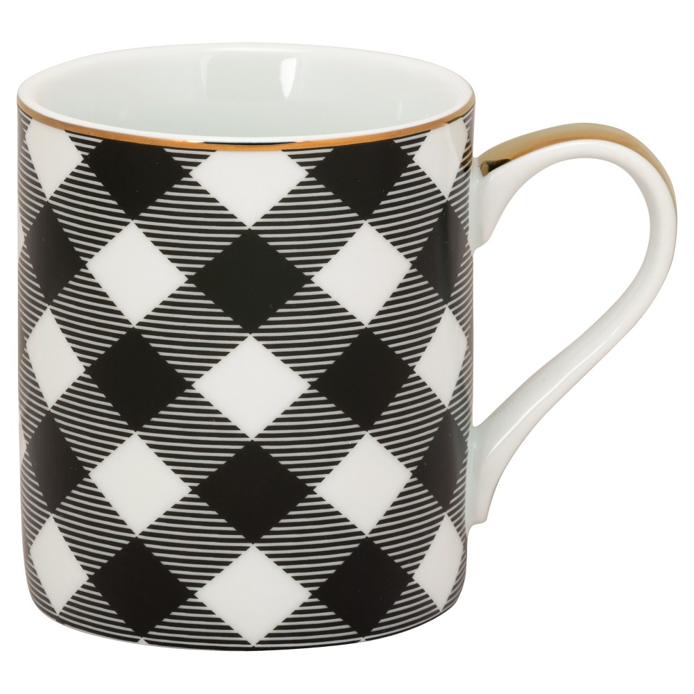 10 Strawberry Street Porcelain Madi Mug 16oz Black Plaid - Set of 6