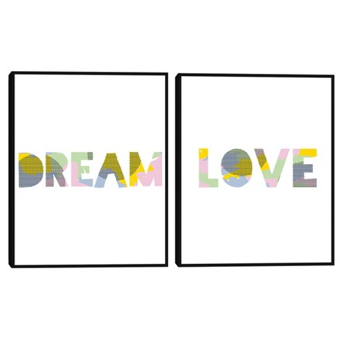 Set of 2 Patterned Dream & Love By Clara Wells Framed Canvas Art Prints - Masterpiece Art Gallery - image 1 of 4