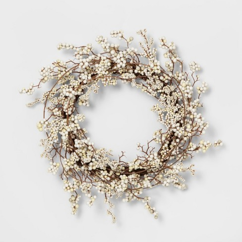 """18"""" Artificial Mixed Berry Wreath White - Threshold™ - image 1 of 1"""