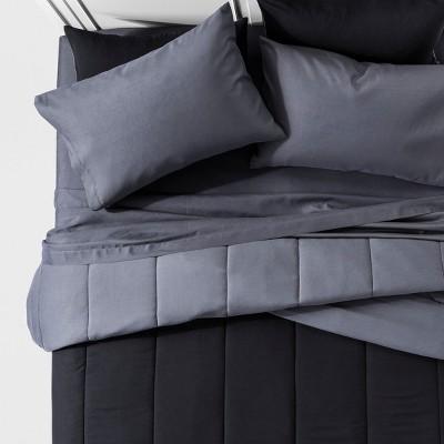 Black Solid Reversible Comforter Set (Queen)7pc - Room Essentials™
