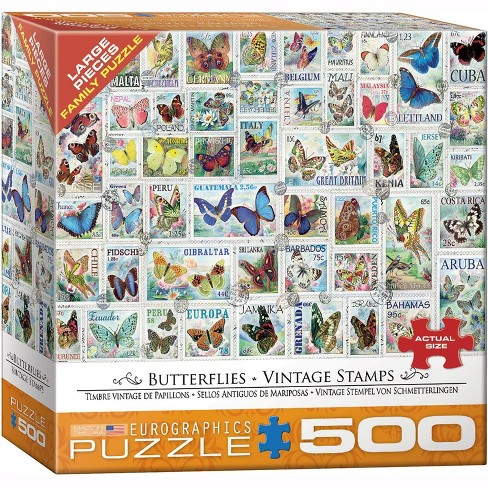 Eurographics Inc. Butterflies Vintage Stamps 500 Piece Jigsaw Puzzle - image 1 of 4