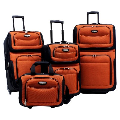 Traveler's Choice Amsterdam 4pc Travel Luggage Set - Orange