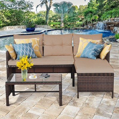 Costway 3PCS Patio Wicker Rattan Sofa Set Outdoor Sectional Conversation Set Garden Lawn