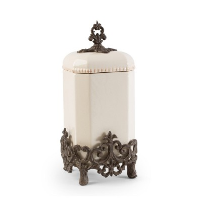 GG Collection 16-Inch Tall Provencial Cream Canister with Brown Metal Scrolled Base
