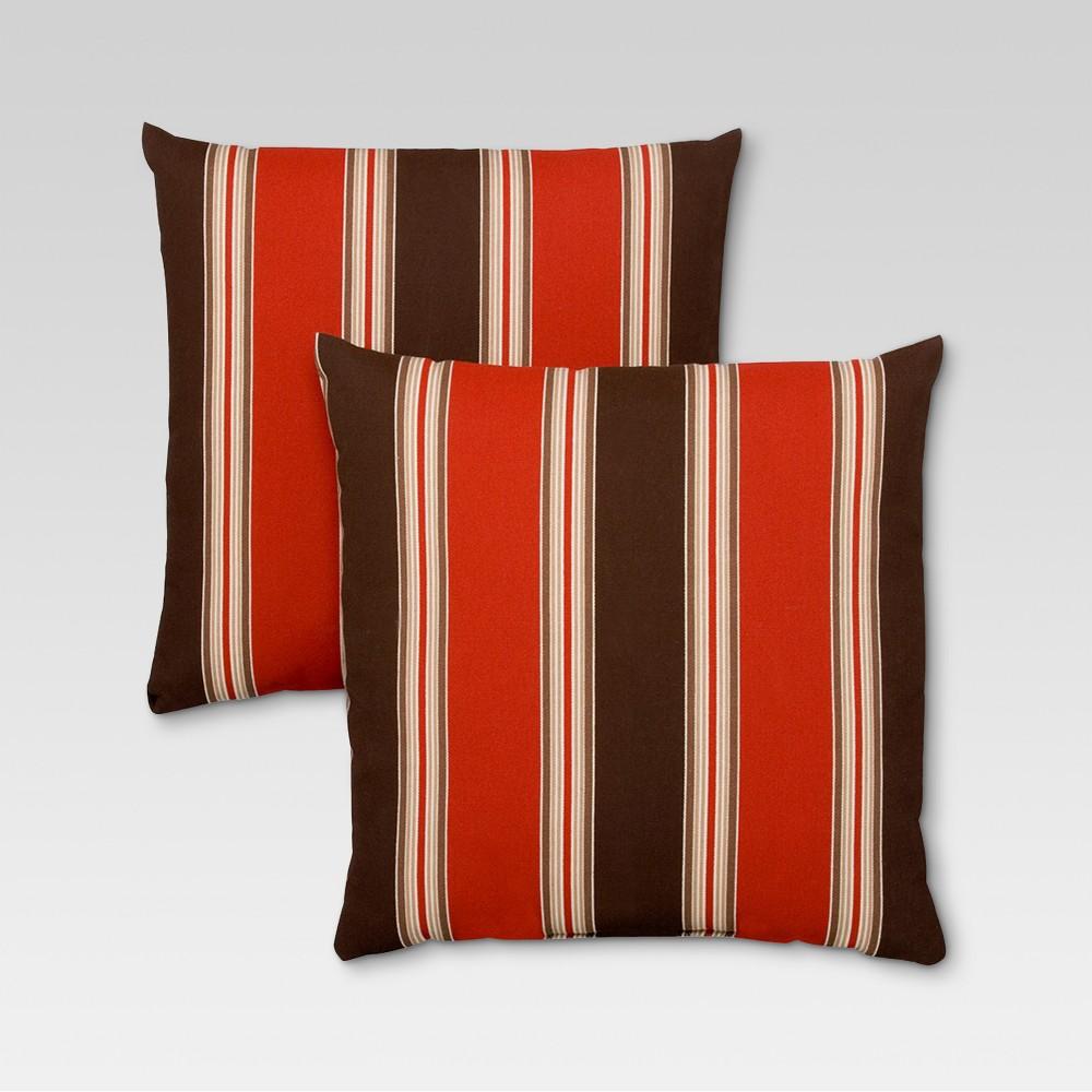 Rolston 2pk Outdoor Throw Pillow Red Stripe Haven Way