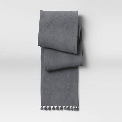 "108"" x 14"" Cotton Textured Runner Gray - Threshold™"