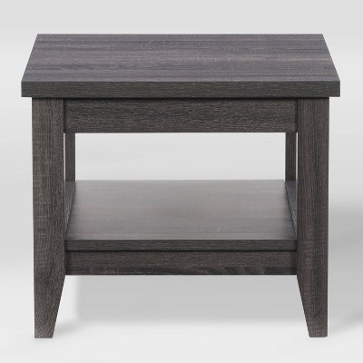 Hollywood Side Table with Shelf Dark Gray - CorLiving