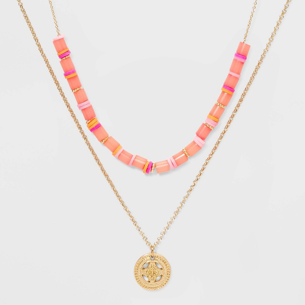 Image of Beaded and Coin Medallion Necklace Set - Wild Fable , Women's, Pink