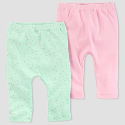 Baby Girls' 2pk Leggings - little planet™ organic by carter's® Mint/Pink Newborn