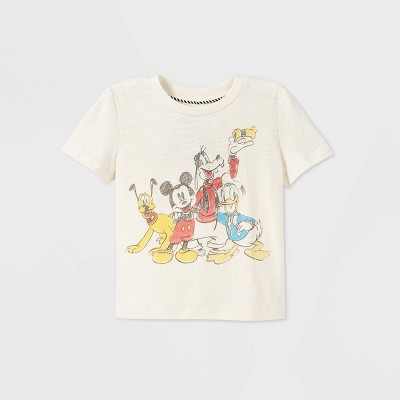 Toddler Boys' Mickey & Friends Short Sleeve Graphic T-Shirt - Off-White - Disney Store