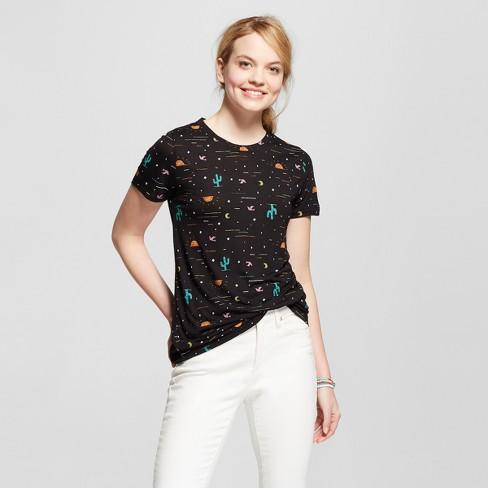 5f7e3db1888031 Women's Desert Night Cactus Short Sleeve Crew Neck T-shirt - Modern Lux  (Juniors') - Black