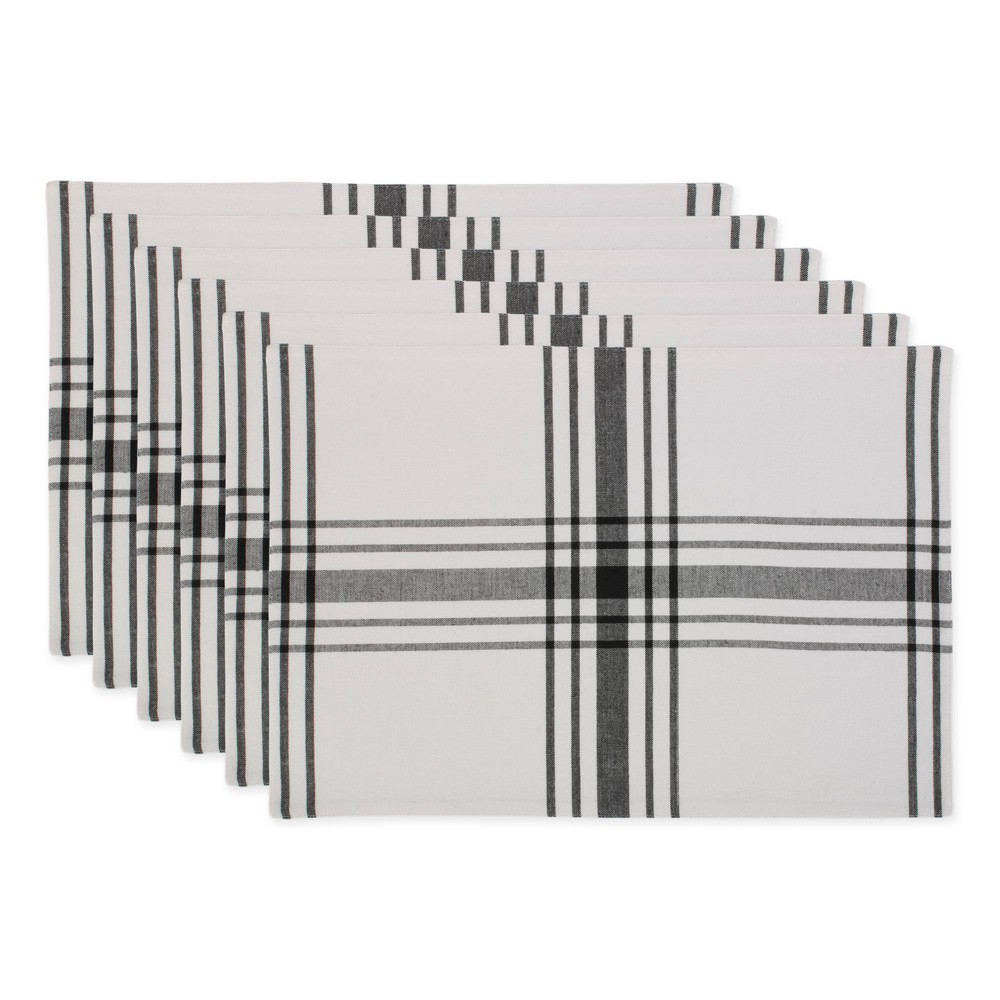 Image of 6pk Cotton Home Sweet Farmhouse Placemats Black - Design Imports