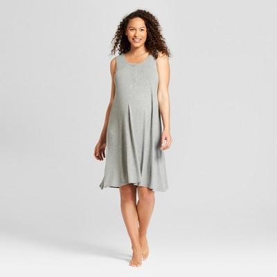 Maternity Short Sleeve Nursing Henley Nightgown - Isabel Maternity by Ingrid & Isabel™ Medium Heather Gray M