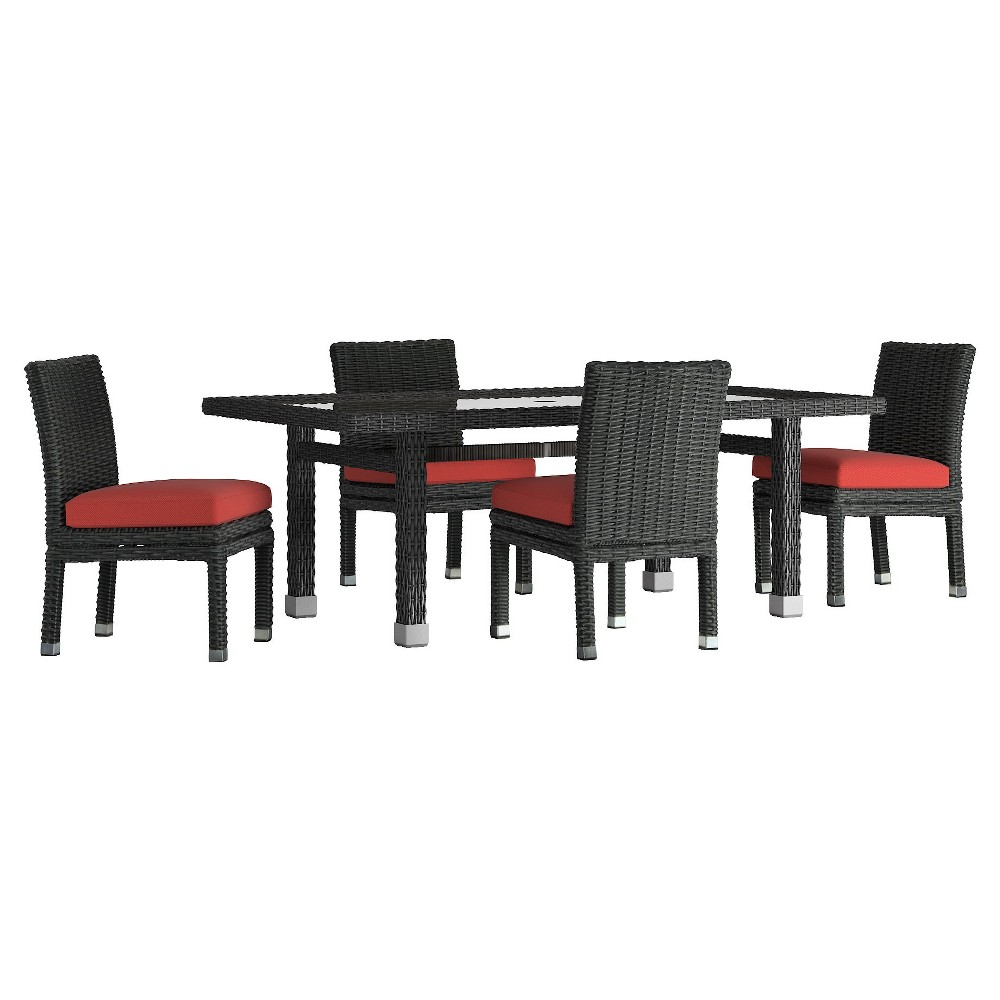 Riviera Pointe 5pc Rectangle All-Weather Wicker Patio Glass Top Dining Set w/ Cushions - Charcoal/Red - Inspire Q