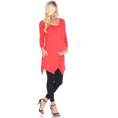 Maternity Plus 3/4 Sleeve Kayla Tunic with Pockets - White Mark