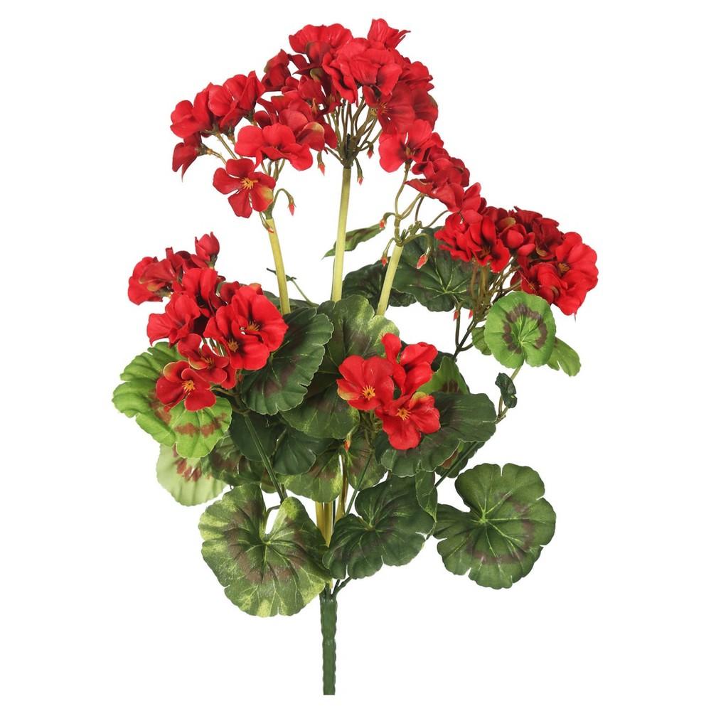 "Image of ""Artificial Red Geranium Bush (18"""") Red - Vickerman"""