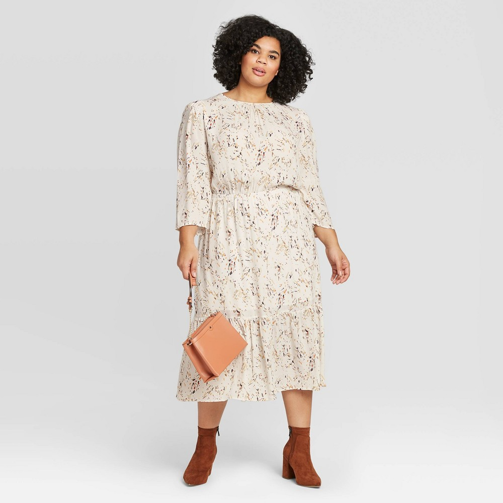 Women's Plus Size Floral Print 3/4 Sleeve Crewneck Tiered Midi Dress - A New Day Cream 4X, Ivory was $27.99 now $19.59 (30.0% off)