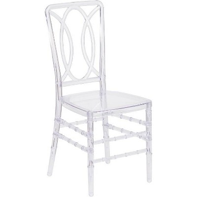 Flash Elegance Ghost Stacking Chair with Designer Back Crystal Ice - Riverstone Furniture Collection