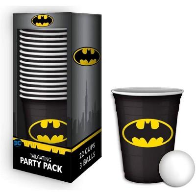 Silver BuffaloDC Comics Batman Logo 18oz Disposable Plastic Cups | 22 Pack w/ Pong Balls