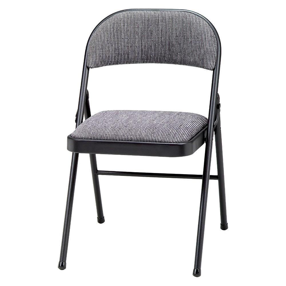 4 Piece Deluxe Fabric Padded Folding Chair Black Lace Frame and Mist Fabric - Sudden Comfort, Gray/Black