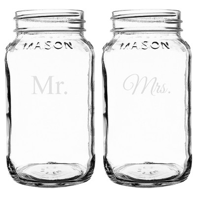 Mr. & Mrs. Wedding Mason Jar Set