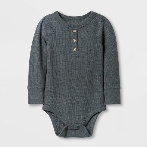 Baby Boys' Long Sleeve Henley Thermal Bodysuit - Cat & Jack™ Gray - image 1 of 1