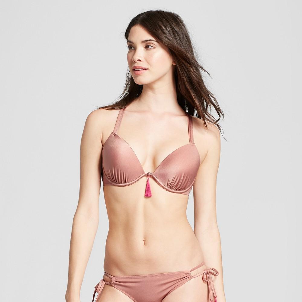 Women's Shore Light Lift Strappy Metallic Bikini Top - Shade & Shore Rose Gold 34B, Pink