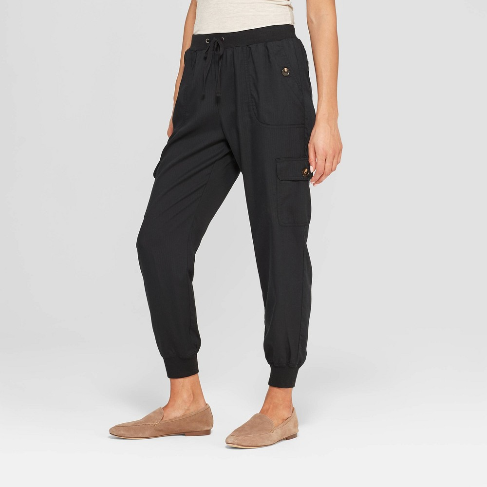 Women's Mid-Rise Ankle Length Cargo Pants - Knox Rose Black XS