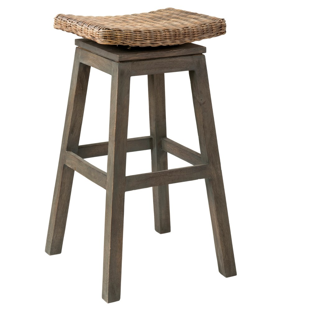 Danvers Square Rattan Barstool - Brown - East At Main
