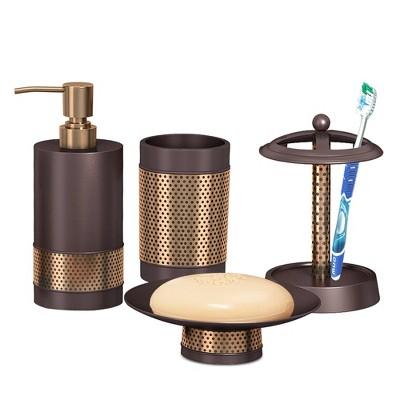 4pc Selma Brushed Metal Bath Accessory Set for Vanity Counter Tops Bronze - Nu Steel
