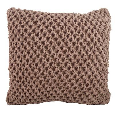 Knitted Design Throw Pillow (20 x20 )Saro Lifestyle