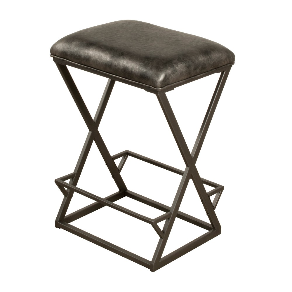Kenwell Backless Non Swivel Counter Stool Metal Charcoal Gray Fabric - Hillsdale Furniture