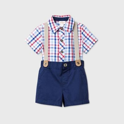 Baby Boys' Gingham Shorts Top & Bottom Set - Cat & Jack™ Navy 6-9M