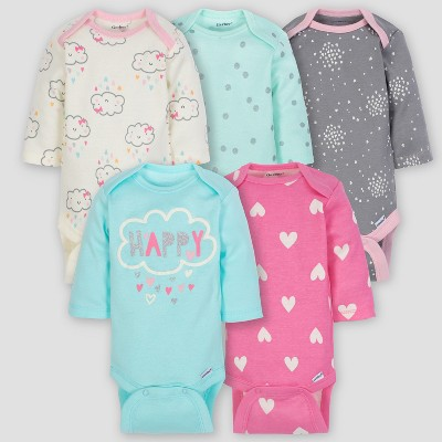 Gerber Baby Girls' 5pk Long Sleeve Onesies Bodysuit Clouds - Green/Pink/Gray 3/6M