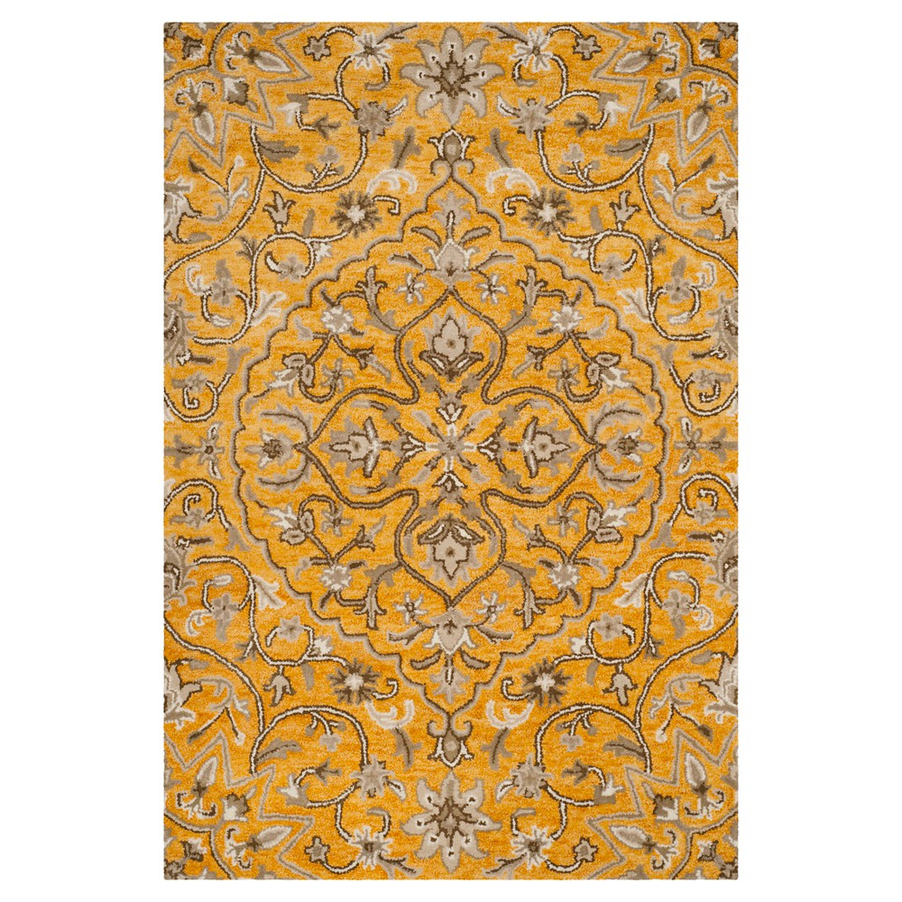 Gold/Taupe (Gold/Brown) Botanical Tufted Area Rug - (4'X6') - Safavieh
