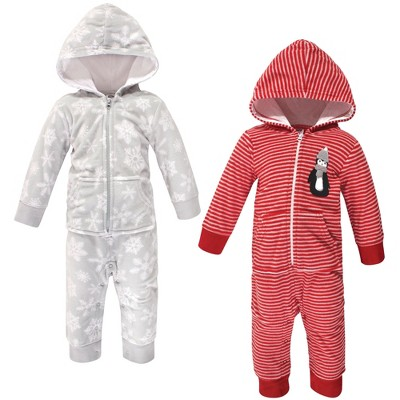 Hudson Baby Infant Fleece Jumpsuits, Coveralls, and Playsuits 2pk, Red Penguin
