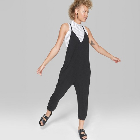 87cd6b74f1f5 Women s V-Neck Knit Jumpsuit - Wild Fable™ Black   Target