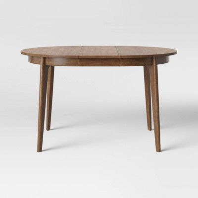 Astrid Mid Century Round Dining Table with Extension Leaf Brown - Project 62™