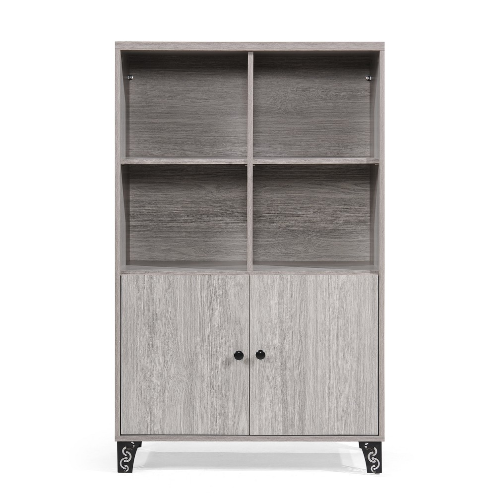 Justina Mid Century Cabinet Gray Oak Brown - Christopher Knight Home, Grey Oak