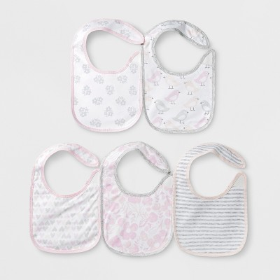 Baby Girls' 5pk Bibs - Cloud Island™ Pink