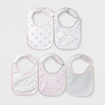 Baby Girls' 5pk Bibs - Cloud Island™ Pink