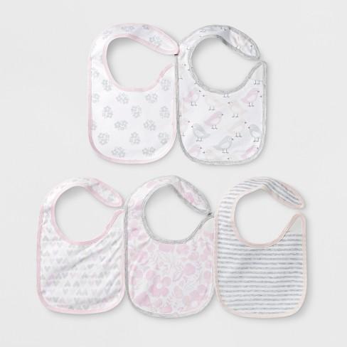 Baby Girls' 5pk Bibs - Cloud Island™ Pink - image 1 of 1