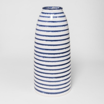 Ceramic Stripe Vase Large - Blue/White - Threshold™
