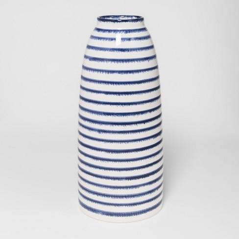Ceramic Stripe Vase Large Bluewhite Threshold Target